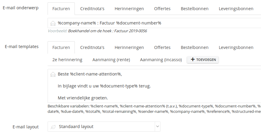 e-mail templates : eenvoudigfactureren